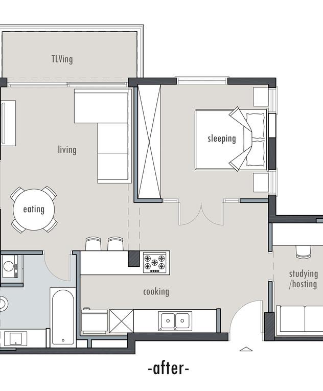 דירה בתל אביב, עיצוב דנה ברוזה, אחרי שיפוץ