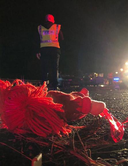 זירת התאונה בכביש 6