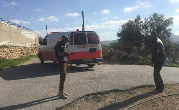 זירת ניסיון הפיגוע ליד חברון (צילום: מהתקשורת הפלסטינית, חדשות)