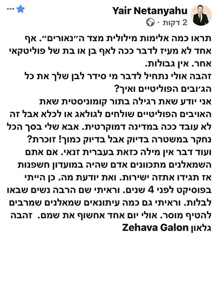 הפוסט של יאיר נתניהו (צילום: חדשות)