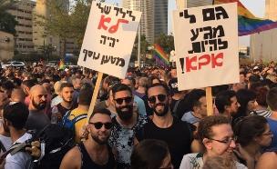 הפגנה בעד אימוץ לגאים (ארכיון) (צילום: חדשות 2)