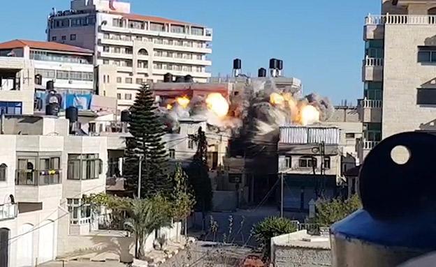 המבנה לאחר הפיצוץ (צילום: דוצ)