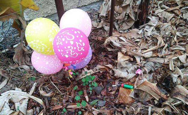 בלוני הנפץ שאותרו בעוטף עזה (צילום: רפי בביאן, חדשות)