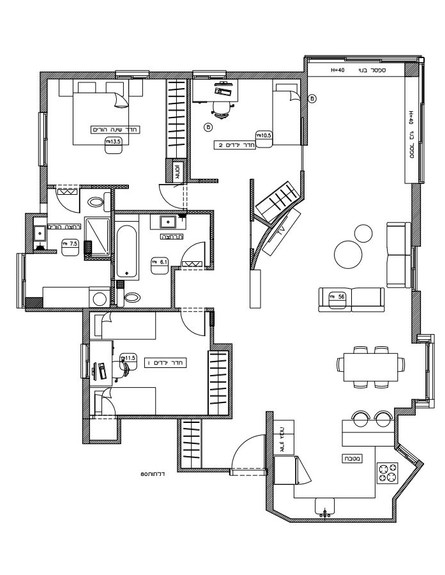 דירה בהרצליה, ג, עיצוב סטודיו פרי, תוכנית אחרי השיפוץ (שרטוט: סטודיו פרי)