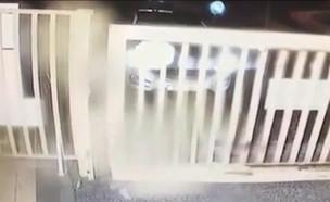 """תיעוד: רץ לשער שנסגר ונמחץ (צילום: מתוך """"חי בלילה"""", שידורי קשת)"""