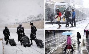 שלג (צילום: מרים אלסטר / פלאש 90, אוליביה פיטוסי, רויטרס, חדשות)