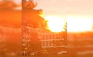 רגעי האימה: פיצוץ בלון הגז בליון (צילום: רוייטרס, חדשות)