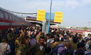 עומס ברכבת ישראל (צילום: מתוך פייסבוק, חדשות)