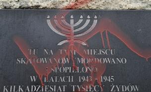 השחתת מצבה בפולין (צילום: רויטרס, חדשות)