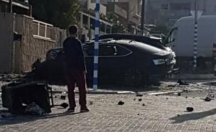 פיצוץ רכב באשקלון (צילום: אדי ישראל, חדשות)