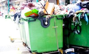 אשפה מלאה ברחובות עיר (צילום: חדשות 2)
