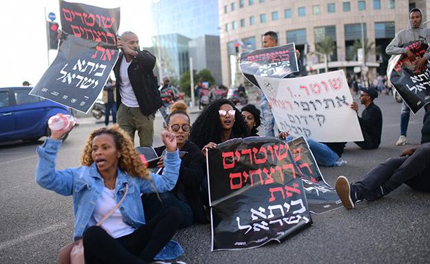 הפגנת יוצאי אתיופיה בתל אביב (צילום: תומר נויברג / פלאש 90, חדשות)