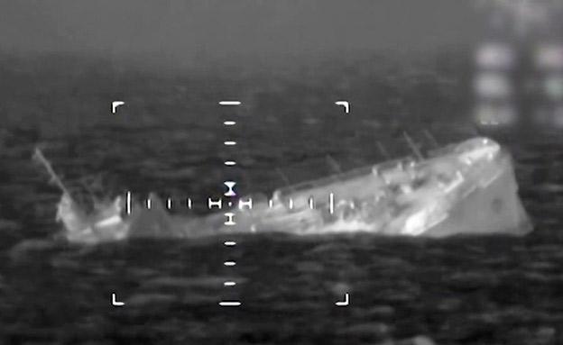 """הטבעת ספינה בתרגיל חיל הים (צילום: דובר צה""""ל, חדשות)"""