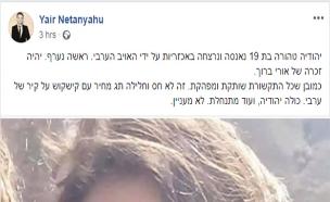 הפוסט של יאיר נתניהו (צילום: פייסבוק, חדשות)