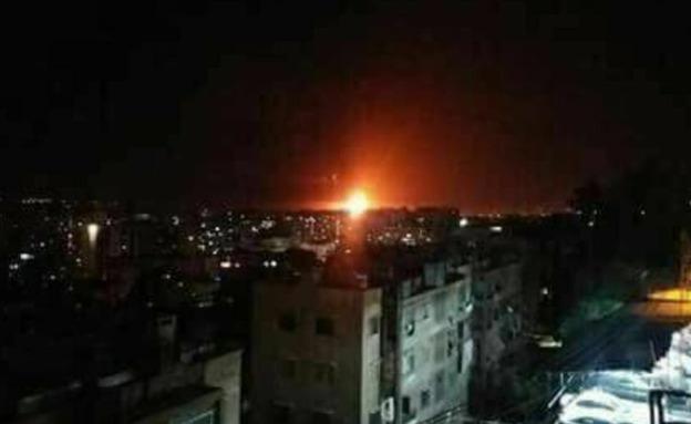 תקיפה בסוריה שיוחסה לישראל (צילום: טוויטר, חדשות)