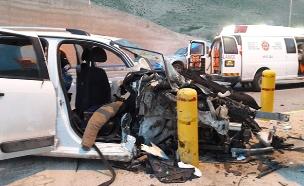 """זירת התאונה סמוך למצפה יריחו (צילום: תיעוד מבצעי מד""""א, חדשות)"""