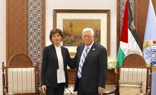 תמר זנדברג בפגישה עם אבו מאזן (צילום: אלעד מלכה, חדשות)
