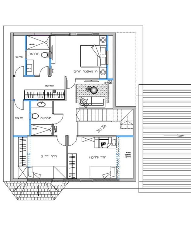 בית במושב תקומה, ג, עיצוב מיכל סמץ, תוכנית אדריכלית קומה עליונה