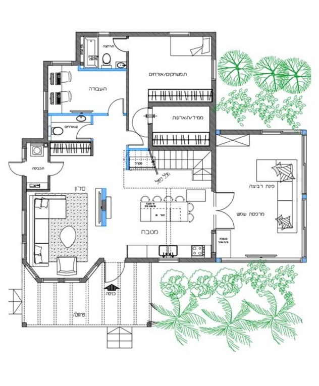 בית במושב תקומה, ג, עיצוב מיכל סמץ, תוכנית אדריכלית קומת קרקע