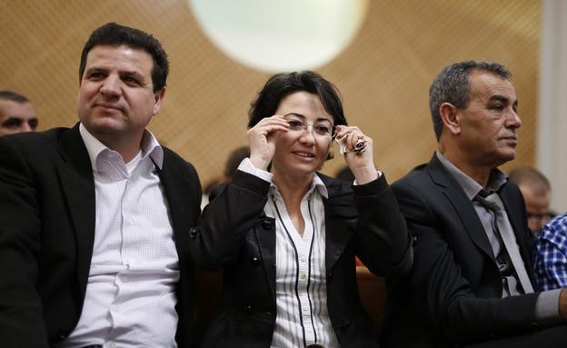 ג'מאל זחאלקה, חנין זועבי ואיימן עודה בבית המשפט (צילום: דוד ועקנין, פלאש 90)
