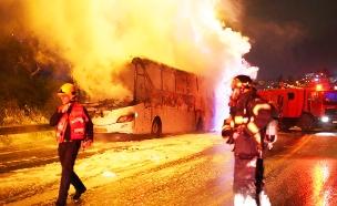 אוטובוס עלה באש בשומרון (צילום: הלל מאיר/TPS, חדשות)