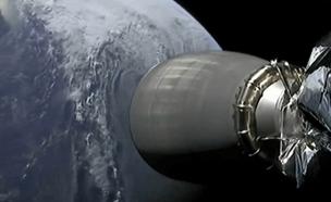 """החללית על רקע כדו""""א בעת השיגור (צילום: SPACEIL, חדשות)"""