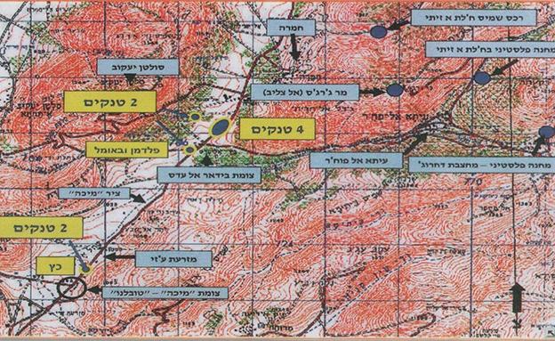 """מפה של זירת קרב """"סולטן יעקב"""" (צילום: דובר צה""""ל, חדשות)"""