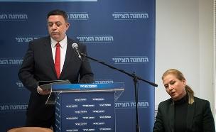 הדחה בשידור חי. גבאי ולבני (צילום: Yonatan Sindel/Flash90, חדשות)
