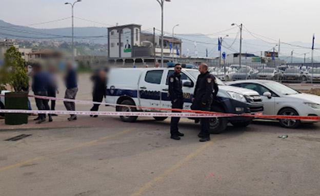 זירת ירי במגד אל כרום (צילום: דוברות המשטרה, חדשות)