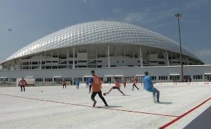 צפו: מגרש כדורגל מ-50 אלף כוסות (צילום: רויטרס, חדשות)