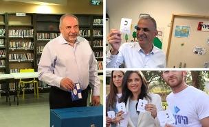 צפו: ראשי המפלגות בקלפיות (צילום: חדשות)