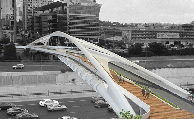 גשר יהודית מעל נתיבי איילון (צילום: חן אדריכלים, חדשות)