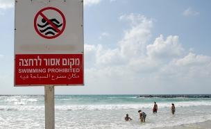 סכנת חיים, חוף אסור לרחצה (צילום: גילי יערי / פלאש 90, חדשות)
