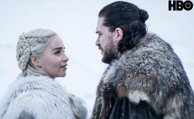 משחקי הכס עונה עונה 8 פרק 1, דאינריז וג'ון (צילום: Helen Sloan/HBO)