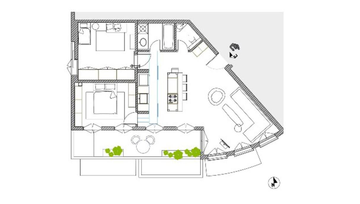 דירה בתל אביב, עיצוב פז חסדאי, תוכנית אדריכלית