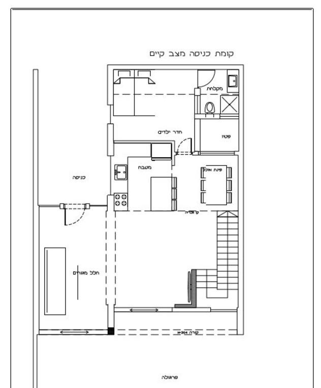 עיצוב אודליה ברזילי, תוכנית אדריכלית, קומת כניסה לפני שיפוץ