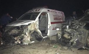 תאונה אמבולנס רכב בקעת הירדן הבקעה מחולה (צילום: יוגב שטרית/TPS, חדשות)