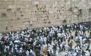 תפילת הכהנים המסורתית בכותל המערבי (צילום: מצלמות הכותל, חדשות)