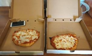 הפיצה שקיבלה שיהרב עוז (צילום: שירהב עוז)