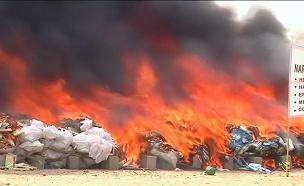 במקום טונות של הרואין: שרפת ענק (צילום: רויטרס, חדשות)