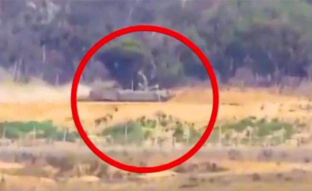 """ירי הנ""""ט לעבר טנק צה""""ל (צילום: חדשות)"""