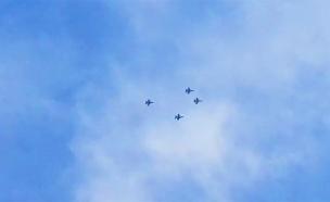 רביעית מטוסי קרב מעל העוטף (צילום: החדשות)