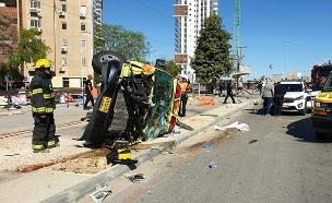זירת התאונה בבאר שבע, היום (צילום: דוברות המשטרה, חדשות)