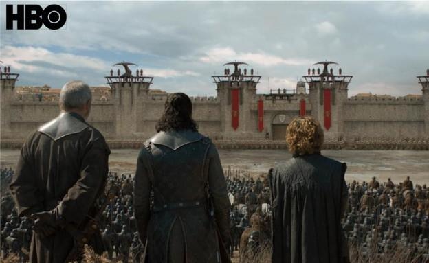 משחקי הכס עונה 8 פרק 5, טיריון, דאבוס וג'ון (צילום: Helen Sloan/HBO,  יחסי ציבור )