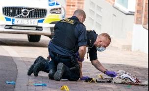 זירת דקירת אישה יהודיה בשוודיה (צילום: מתוך התקשורת בשוודיה, חדשות)