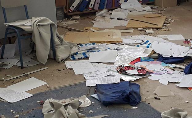 הכיתה שנפגעה מפגיעת הרקטה (צילום: וועד הורים בית ספר ארלוזורוב, חדשות)