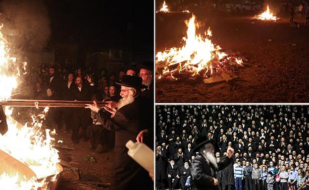 כך נראות החגיגות בהר ירון (צילום: יונתן זינדל, דוד כהן, פלאש 90)