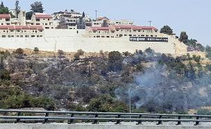 שרפה במבשרת סמוך לכביש 1 אתמול (צילום: החדשות)