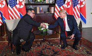 פסגת טראמפ וקים הראשונה (צילום: AP, חדשות)