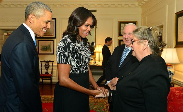 """נחמה ריבלין ומישל אובמה (צילום: קובי גדעון, לע""""מ, חדשות)"""